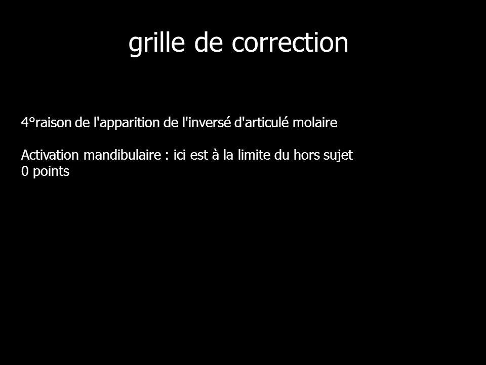 grille de correction 4°raison de l apparition de l inversé d articulé molaire Activation mandibulaire : ici est à la limite du hors sujet 0 points.