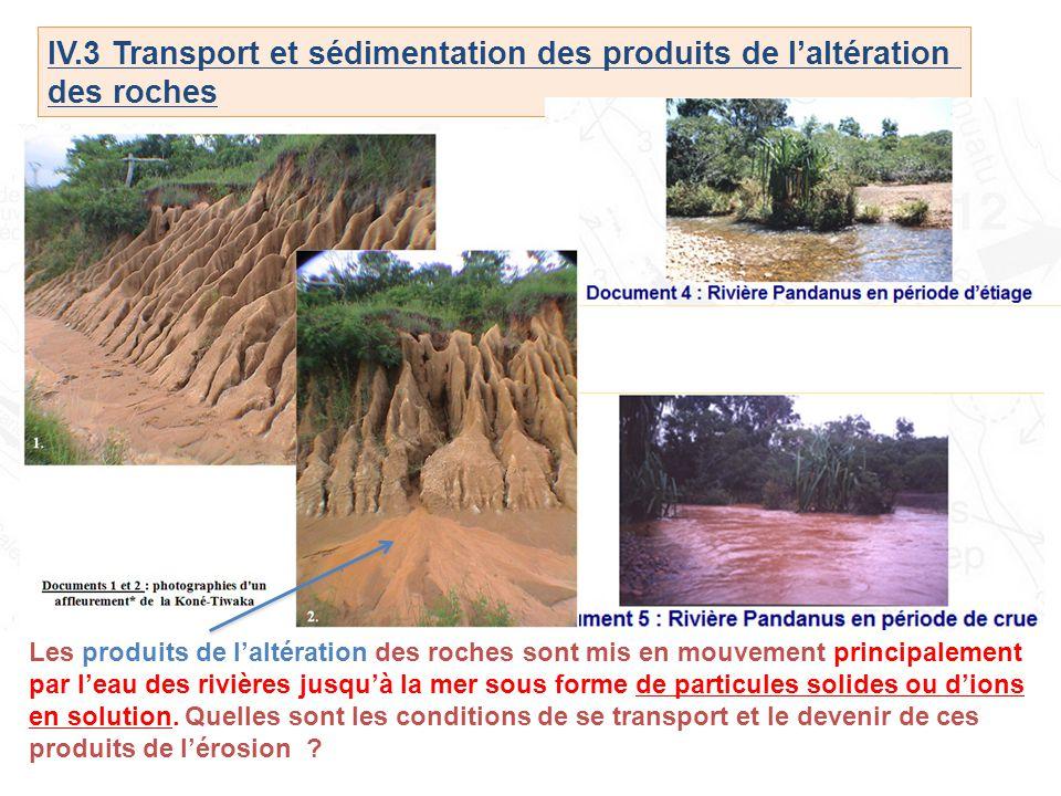 IV.3 Transport et sédimentation des produits de l'altération