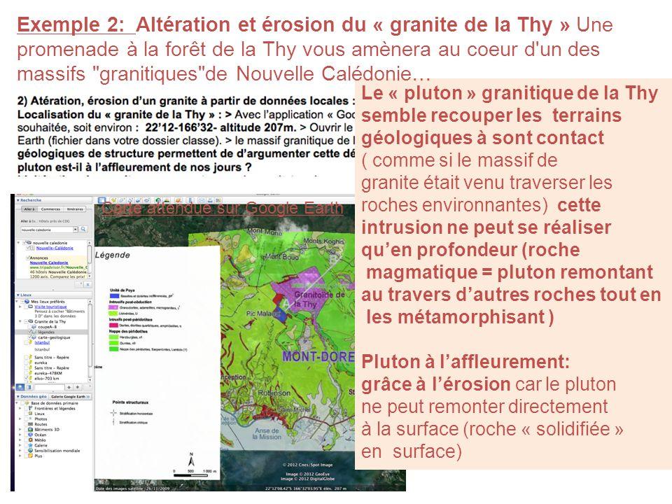 Exemple 2: Altération et érosion du « granite de la Thy » Une promenade à la forêt de la Thy vous amènera au coeur d un des massifs granitiques de Nouvelle Calédonie…