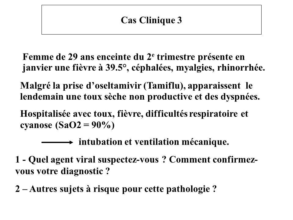 Cas Clinique 3 Femme de 29 ans enceinte du 2e trimestre présente en janvier une fièvre à 39.5°, céphalées, myalgies, rhinorrhée.