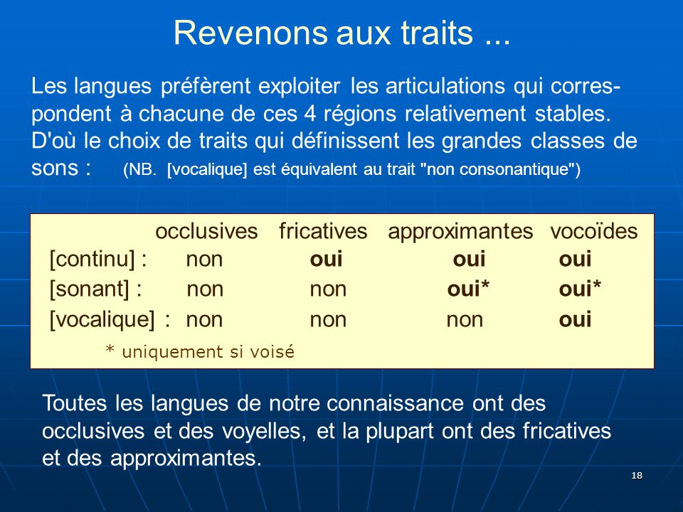 Revenons aux traits ...