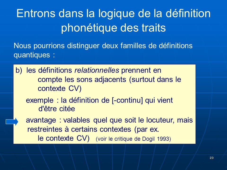 Entrons dans la logique de la définition phonétique des traits