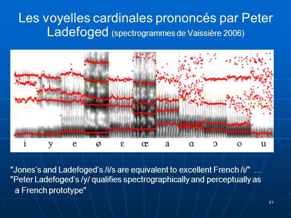 Les voyelles cardinales prononcés par Peter Ladefoged (spectrogrammes de Vaissière 2006)