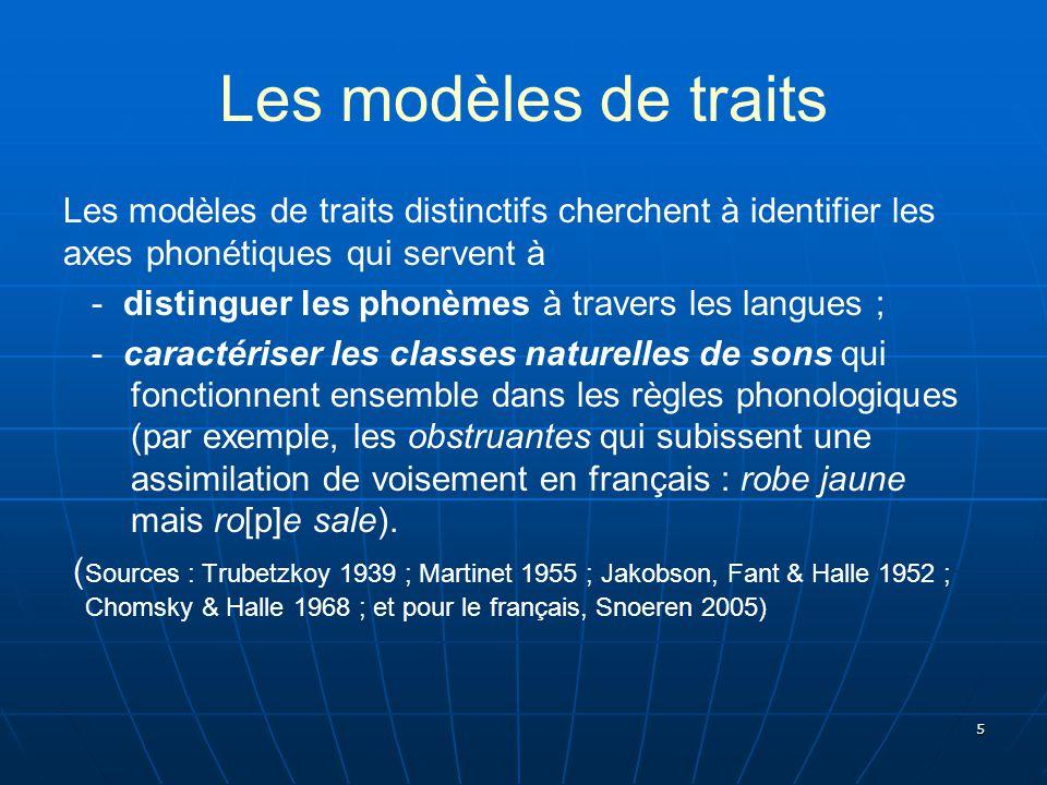 Les modèles de traits Les modèles de traits distinctifs cherchent à identifier les axes phonétiques qui servent à.