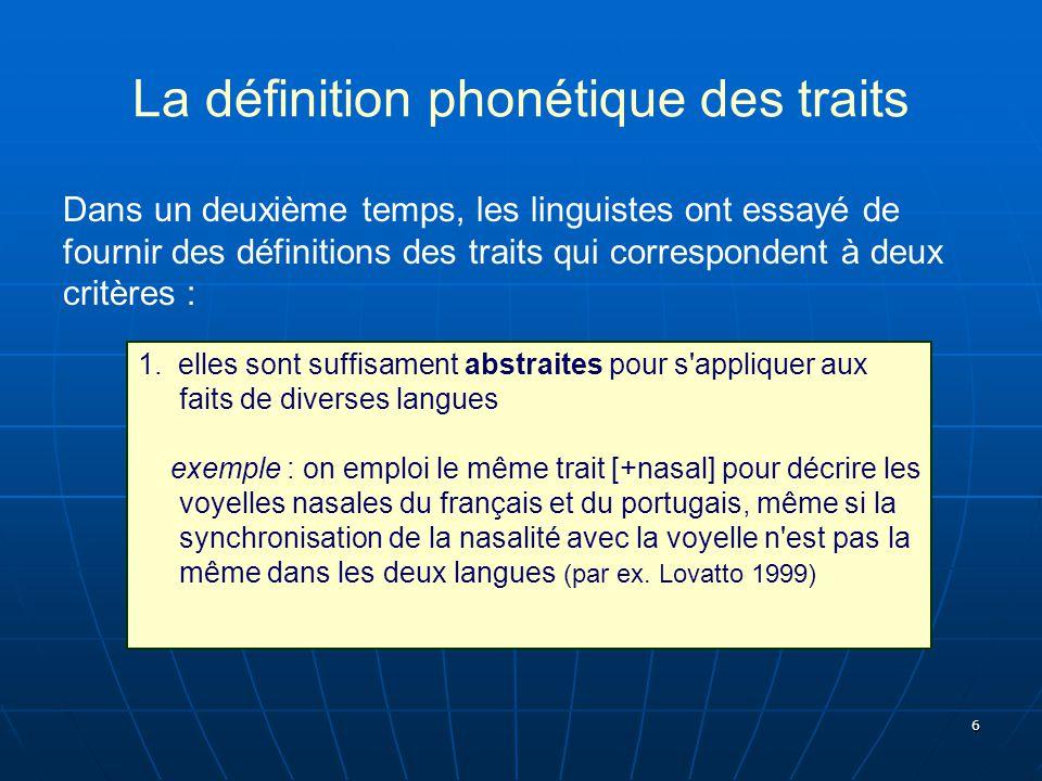 La définition phonétique des traits
