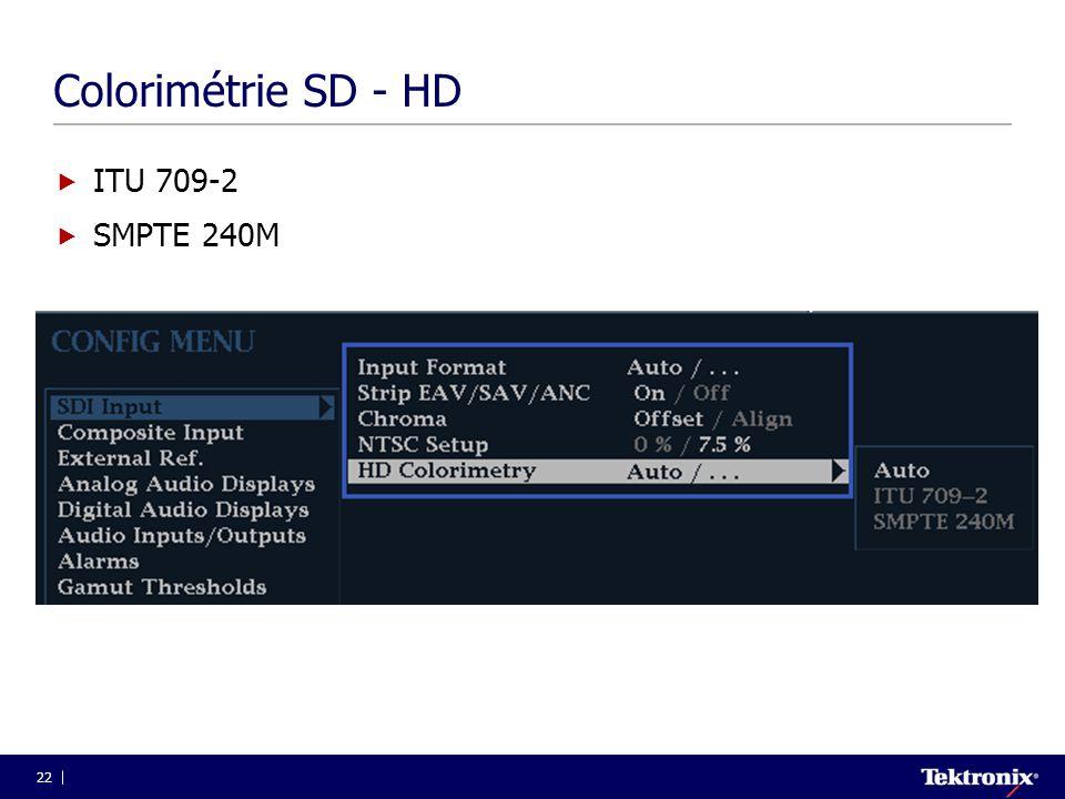 Colorimétrie SD - HD ITU 709-2 SMPTE 240M