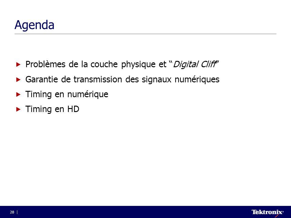 Agenda Problèmes de la couche physique et Digital Cliff
