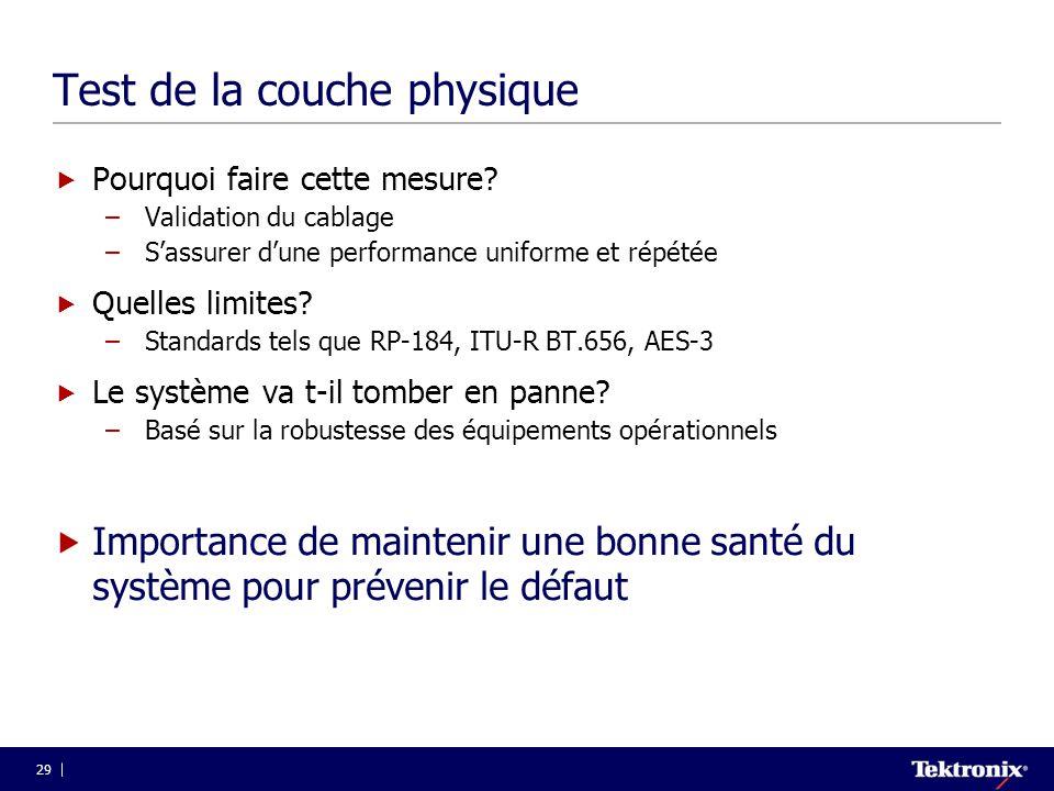 Test de la couche physique