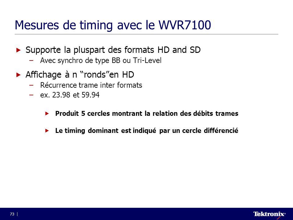 Mesures de timing avec le WVR7100