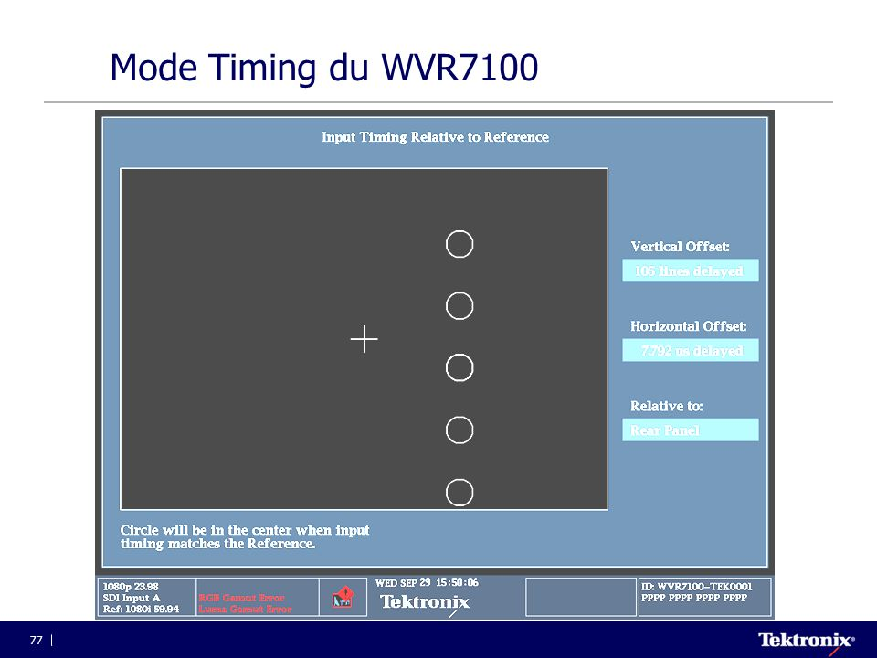 Mode Timing du WVR7100 4/2/2017.