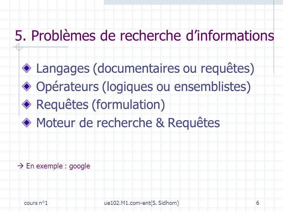 5. Problèmes de recherche d'informations