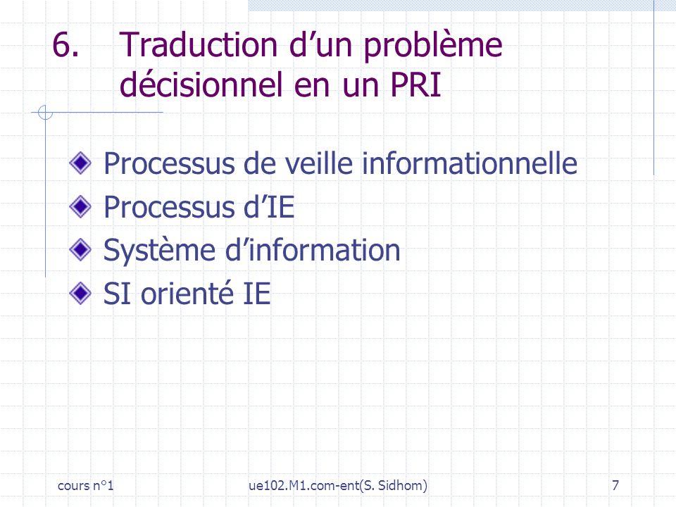 6. Traduction d'un problème décisionnel en un PRI