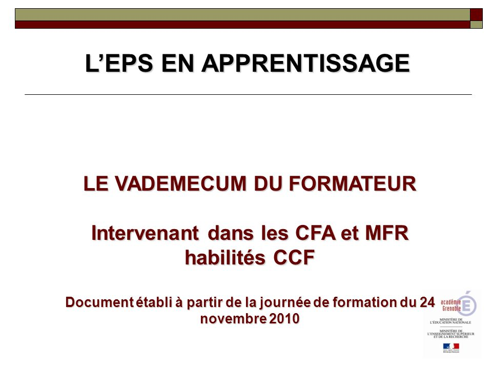 L'EPS EN APPRENTISSAGE