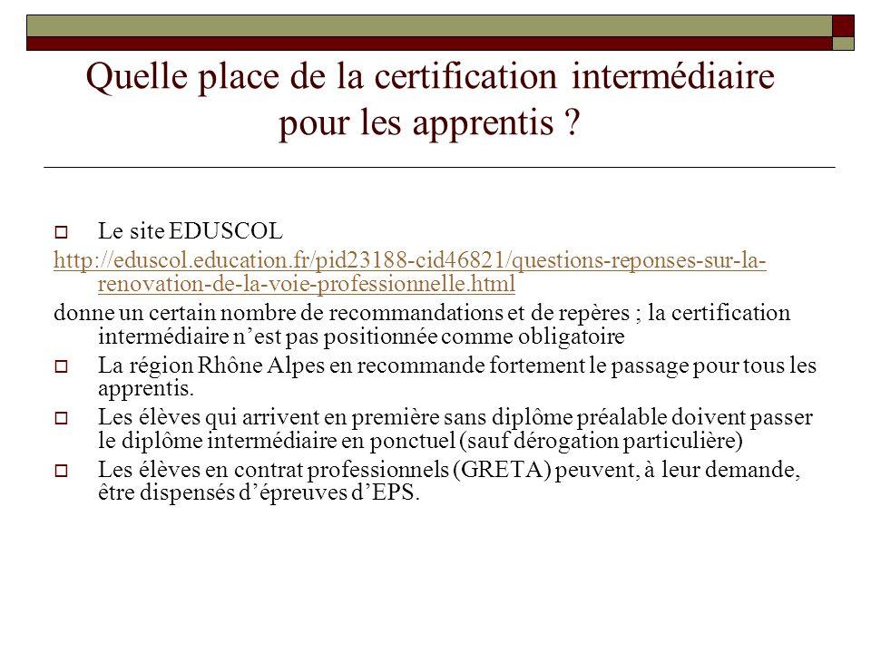 Quelle place de la certification intermédiaire pour les apprentis