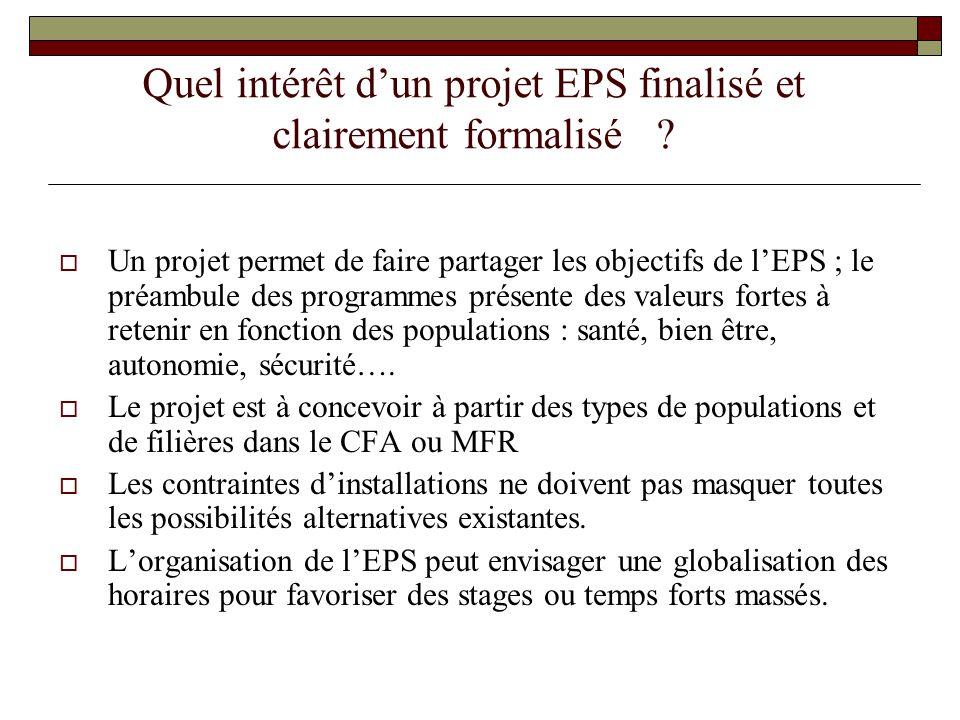Quel intérêt d'un projet EPS finalisé et clairement formalisé