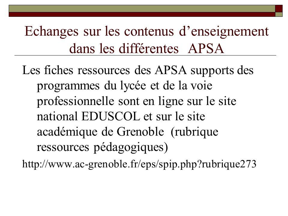 Echanges sur les contenus d'enseignement dans les différentes APSA