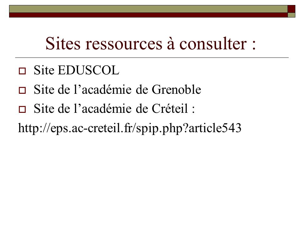 Sites ressources à consulter :