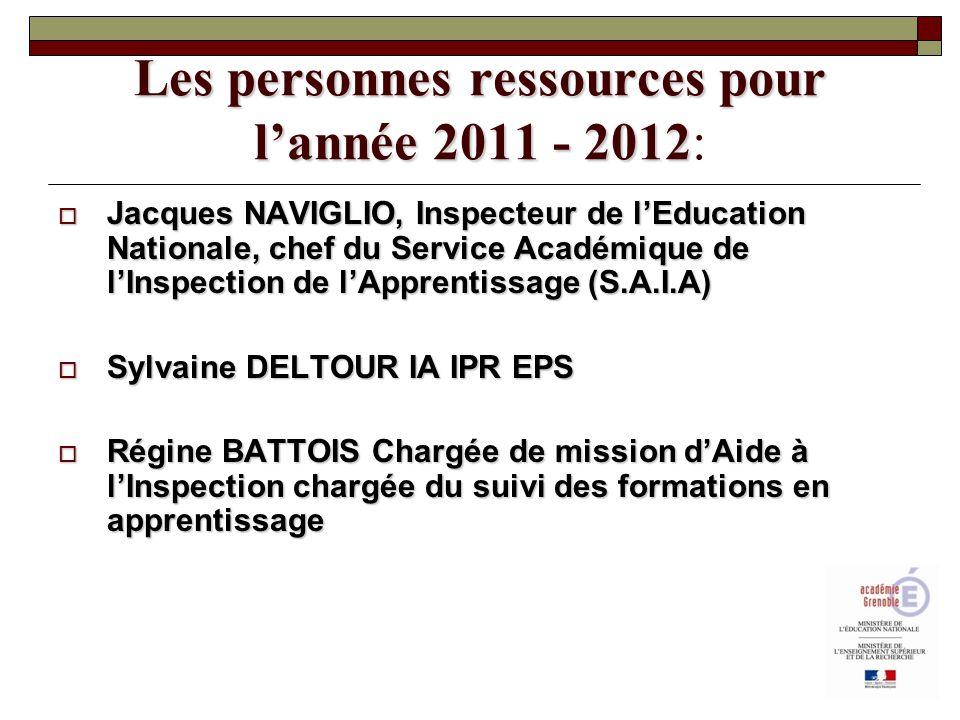 Les personnes ressources pour l'année 2011 - 2012: