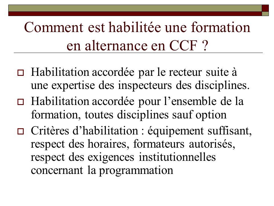 Comment est habilitée une formation en alternance en CCF