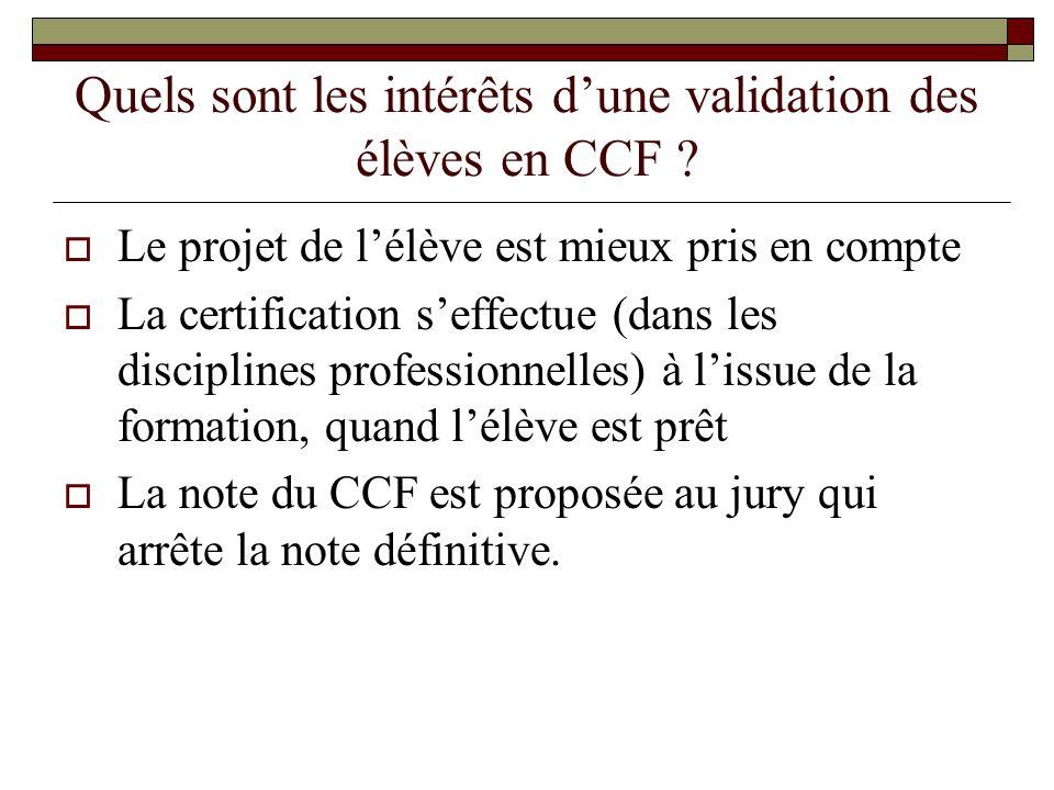 Quels sont les intérêts d'une validation des élèves en CCF
