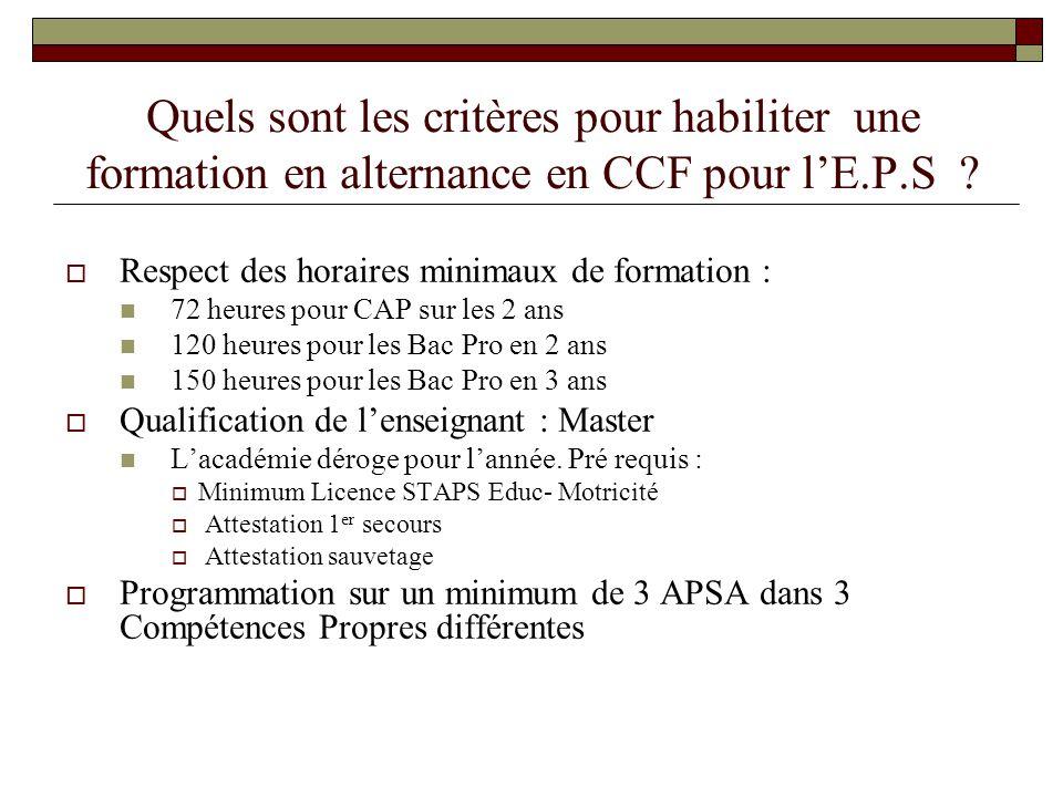 Quels sont les critères pour habiliter une formation en alternance en CCF pour l'E.P.S