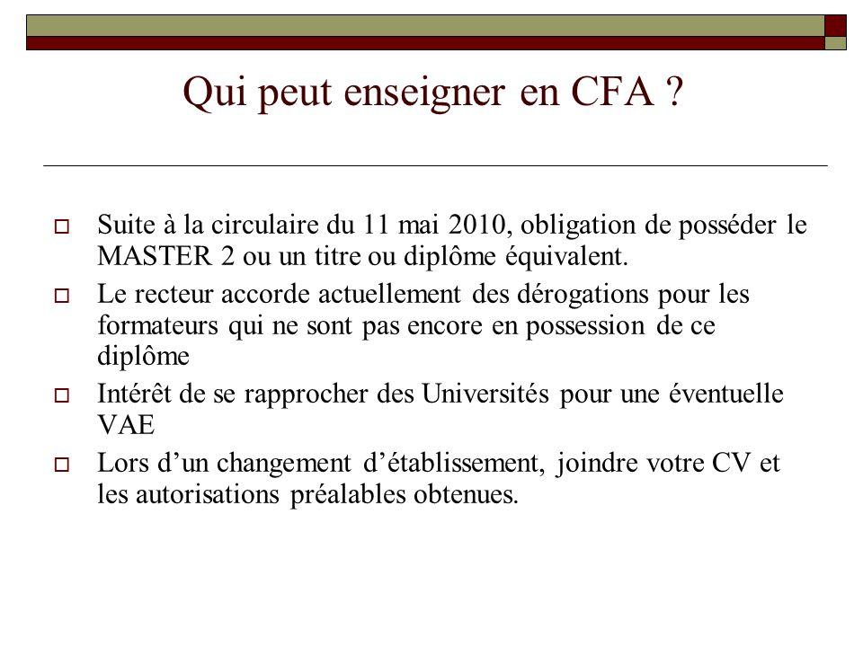 Qui peut enseigner en CFA