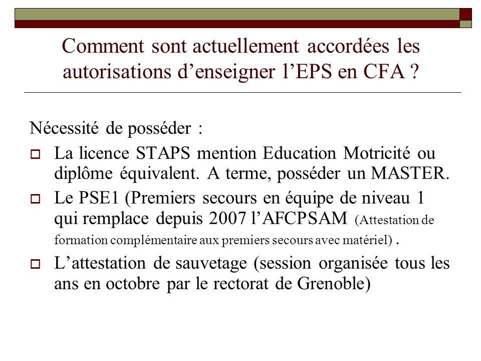 Comment sont actuellement accordées les autorisations d'enseigner l'EPS en CFA