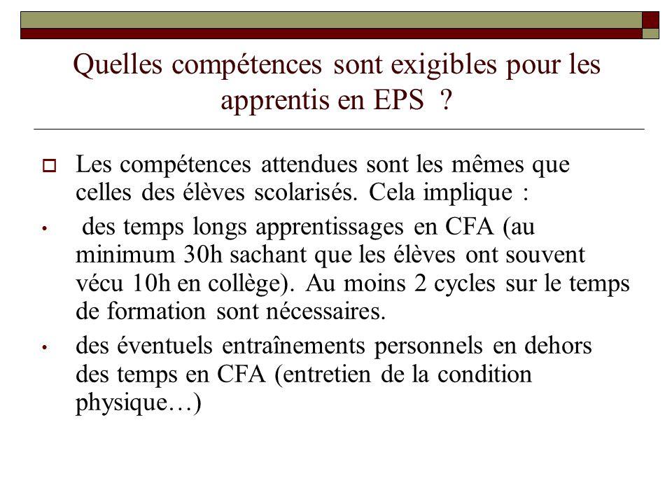 Quelles compétences sont exigibles pour les apprentis en EPS