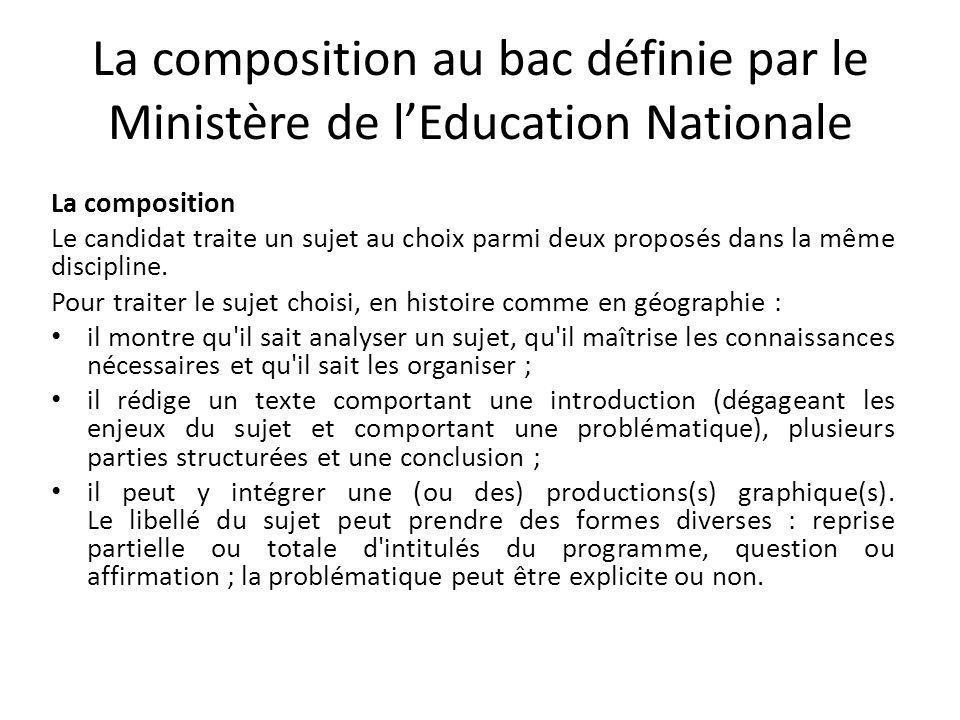 La composition au bac définie par le Ministère de l'Education Nationale
