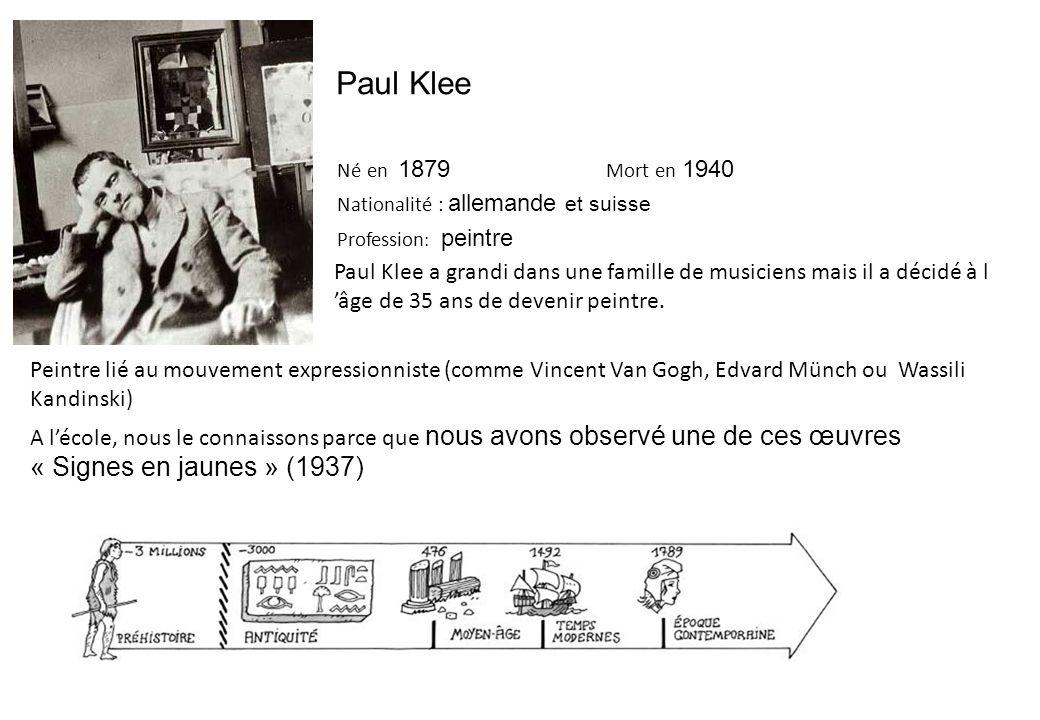Paul Klee Né en 1879 Mort en 1940. Nationalité : allemande et suisse. Profession: peintre.