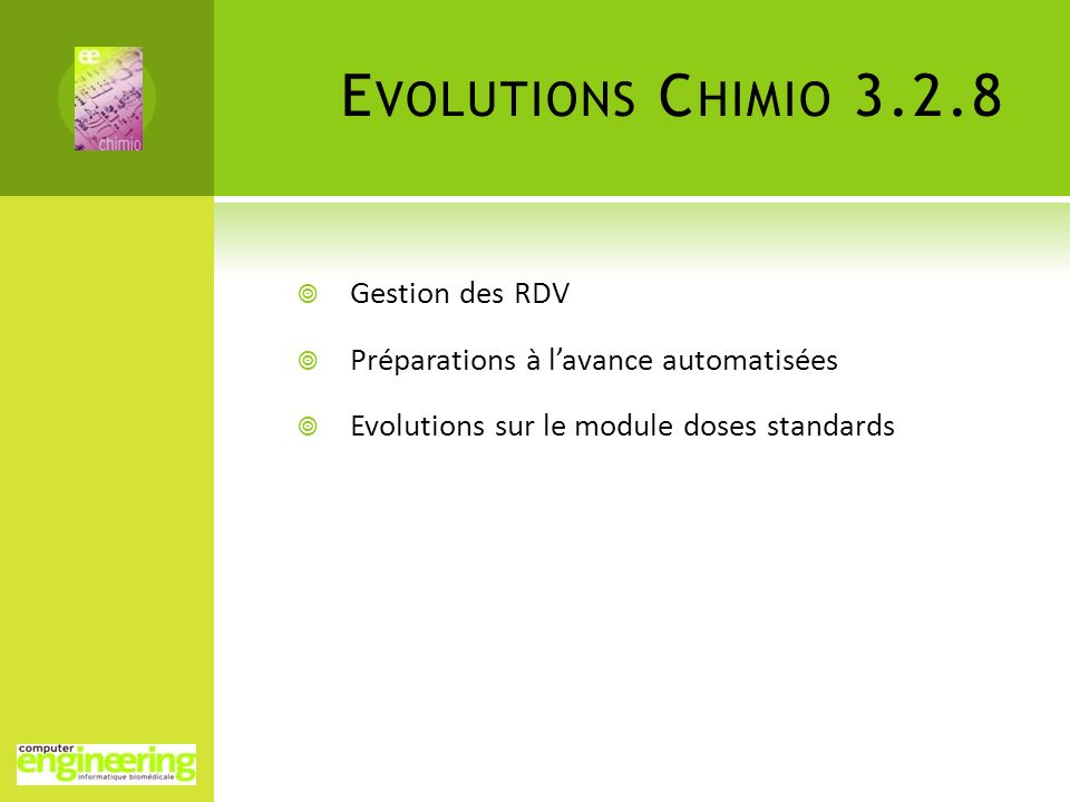 Evolutions Chimio 3.2.8 Gestion des RDV
