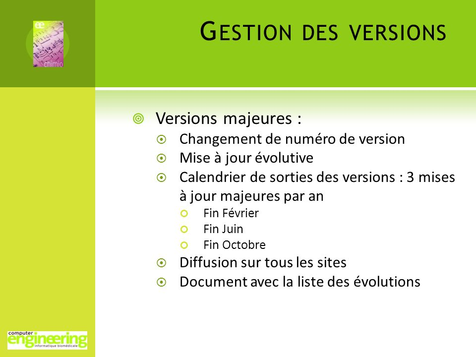 Gestion des versions Versions majeures :