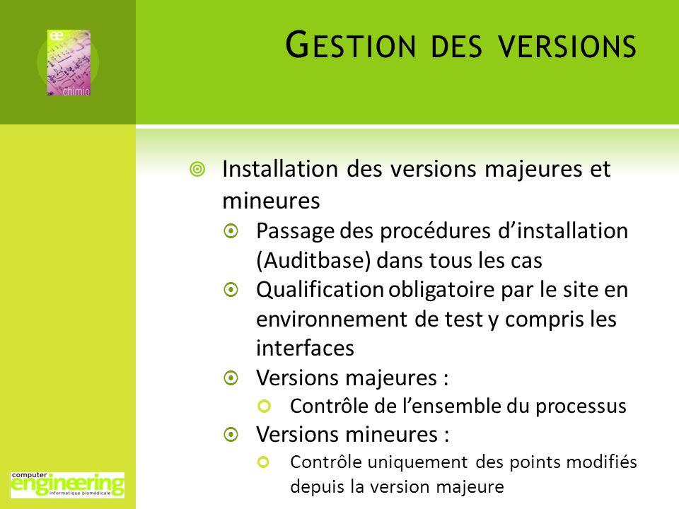 Gestion des versions Installation des versions majeures et mineures