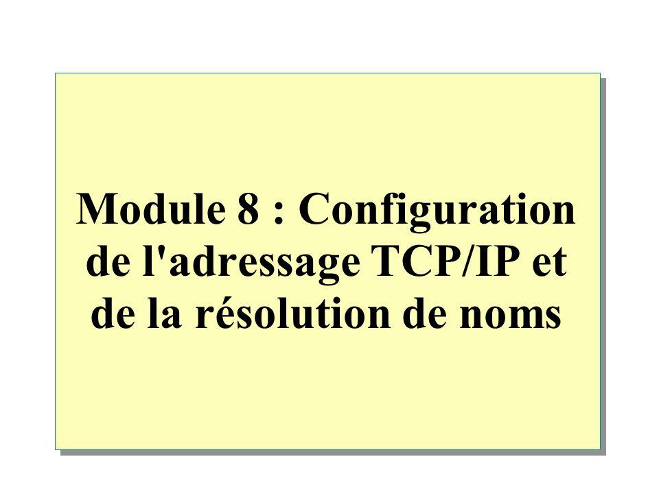 Module 8 : Configuration de l adressage TCP/IP et de la résolution de noms