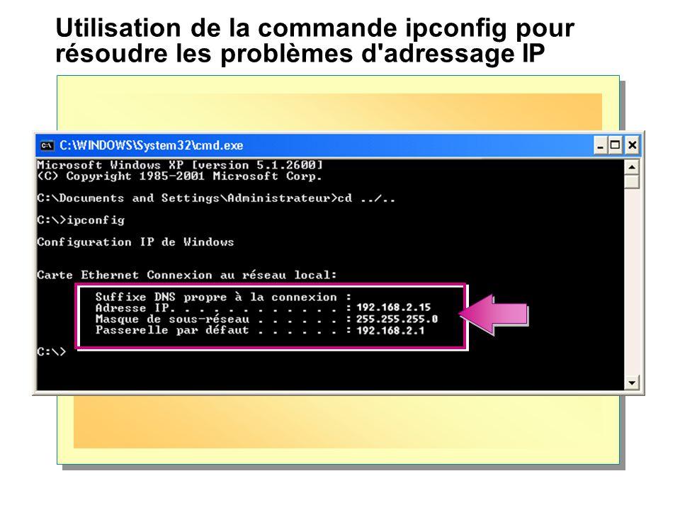 Utilisation de la commande ipconfig pour résoudre les problèmes d adressage IP