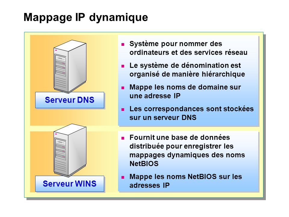 Mappage IP dynamique Serveur DNS Serveur WINS