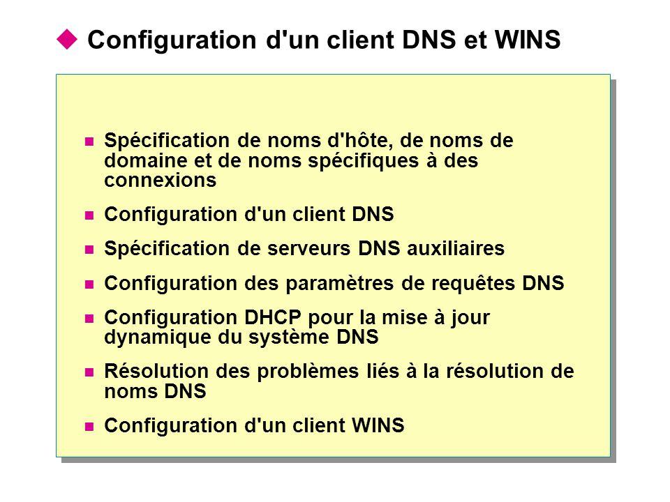 Configuration d un client DNS et WINS