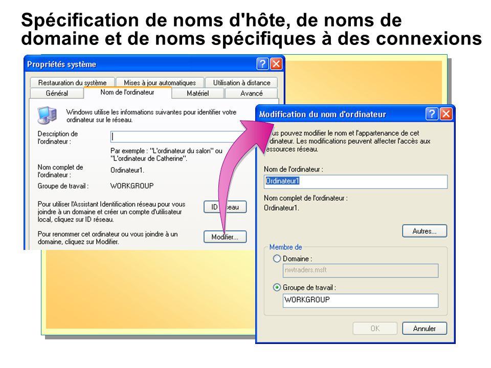 Spécification de noms d hôte, de noms de domaine et de noms spécifiques à des connexions