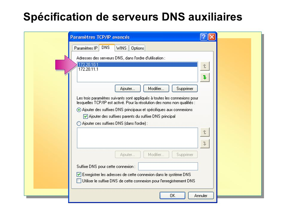 Spécification de serveurs DNS auxiliaires