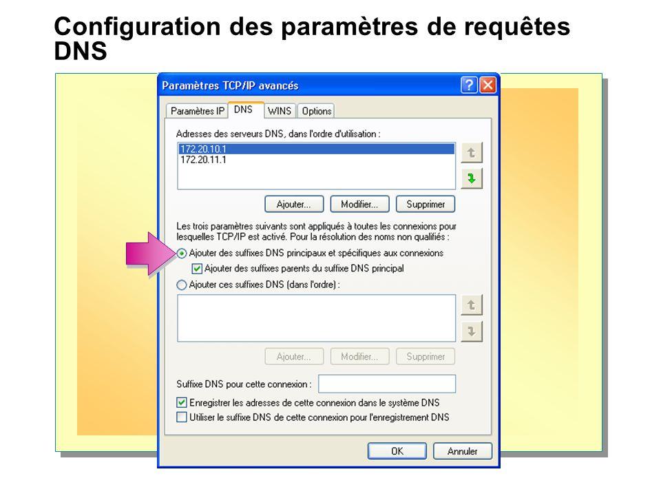 Configuration des paramètres de requêtes DNS