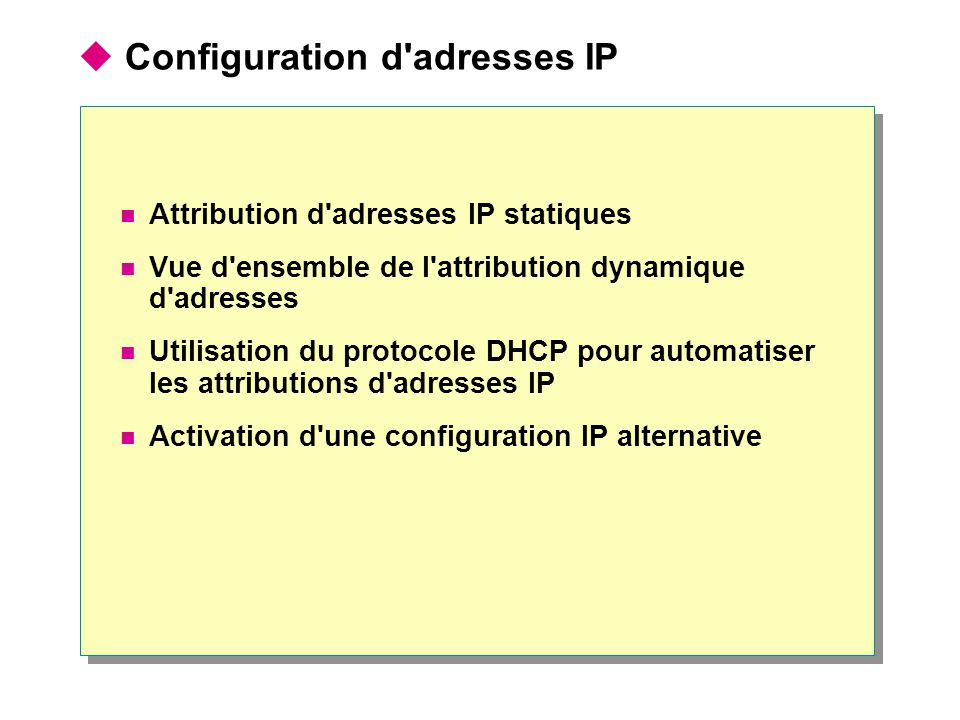 Configuration d adresses IP