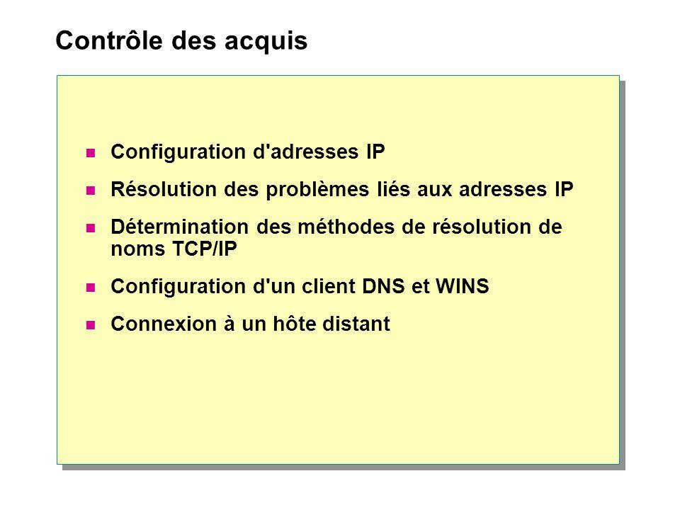 Contrôle des acquis Configuration d adresses IP
