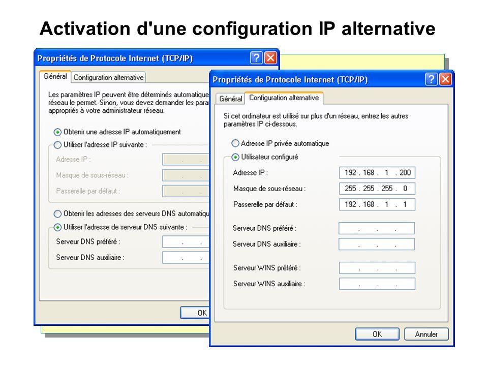 Activation d une configuration IP alternative