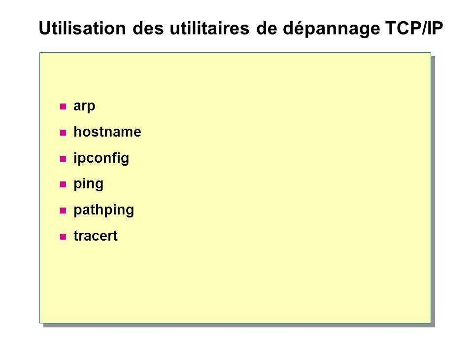 Utilisation des utilitaires de dépannage TCP/IP