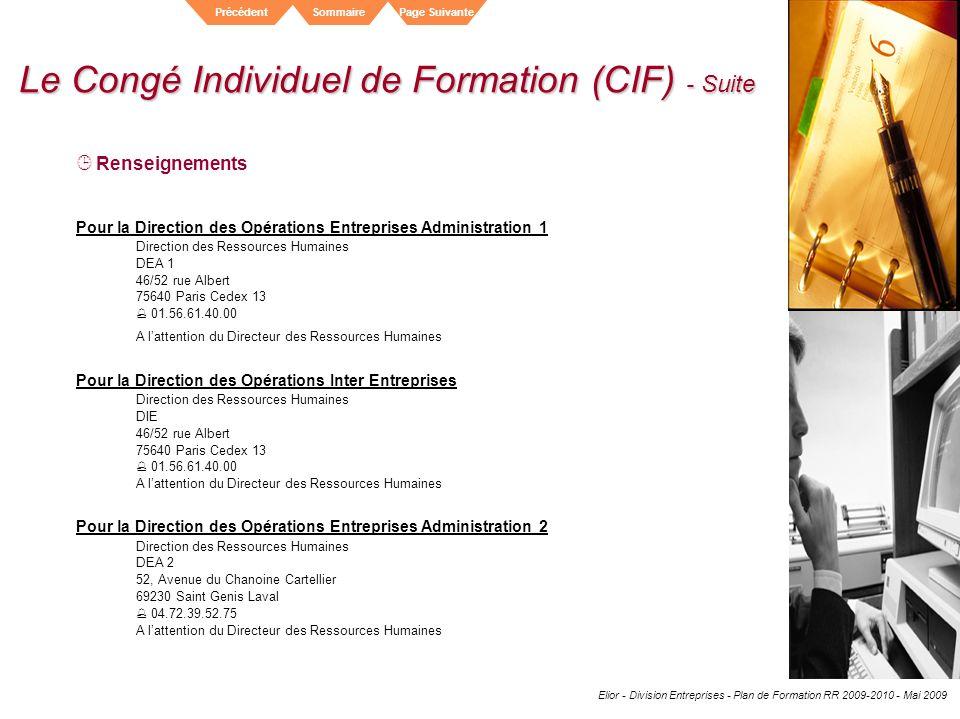 Le Congé Individuel de Formation (CIF) - Suite