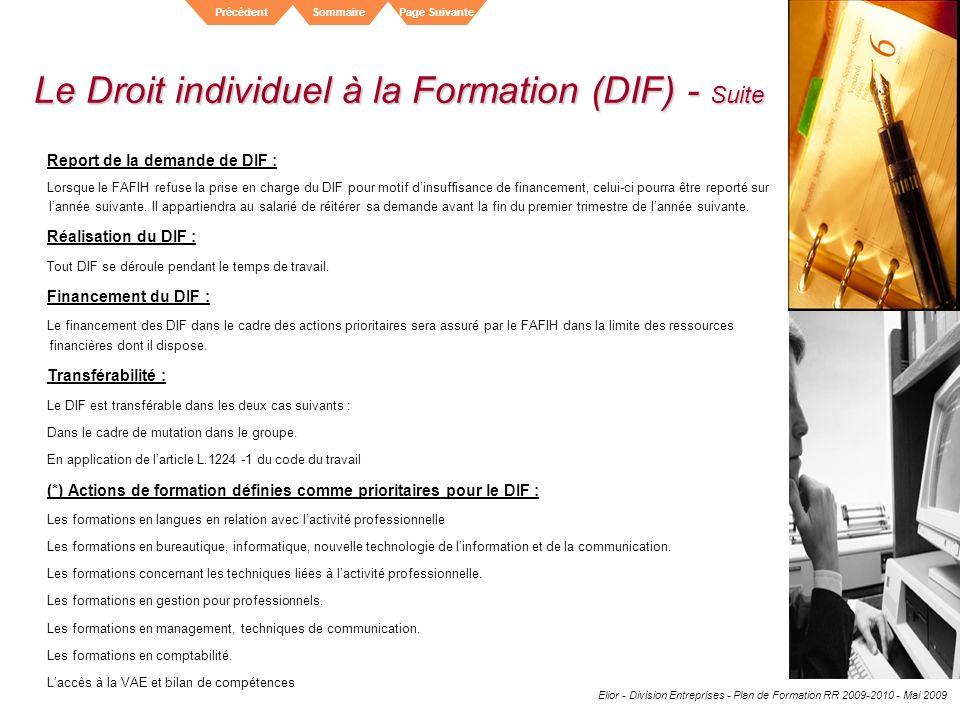 Le Droit individuel à la Formation (DIF) - Suite