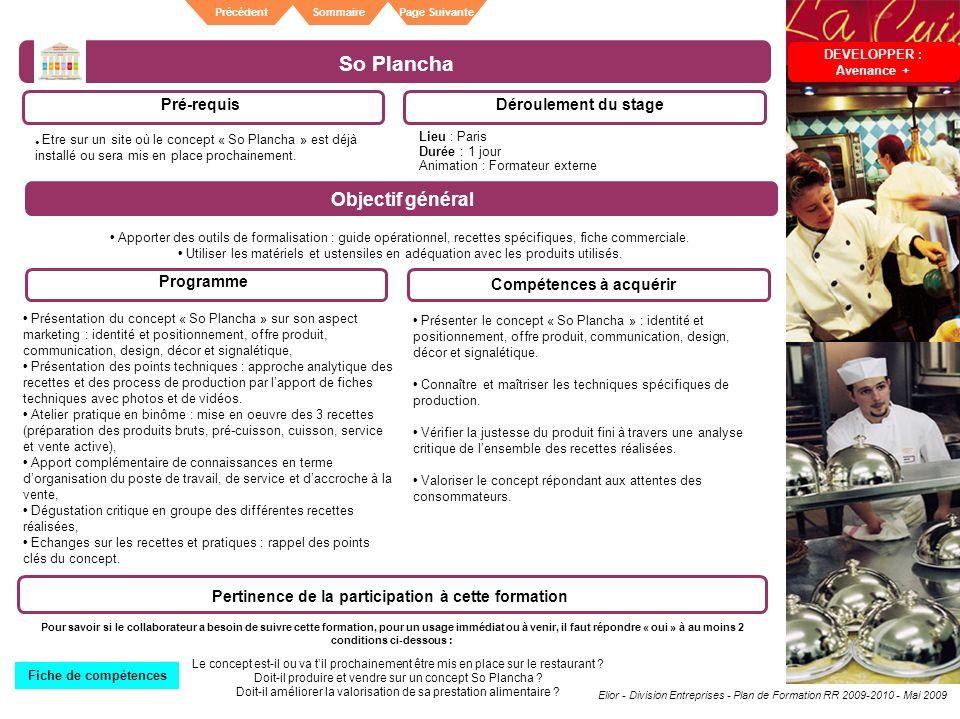 So Plancha Objectif général Pré-requis Déroulement du stage Programme
