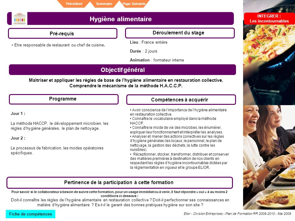 Plan de formation division entreprises ppt t l charger for Responsable de cuisine collective