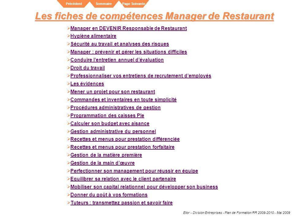 Les fiches de compétences Manager de Restaurant
