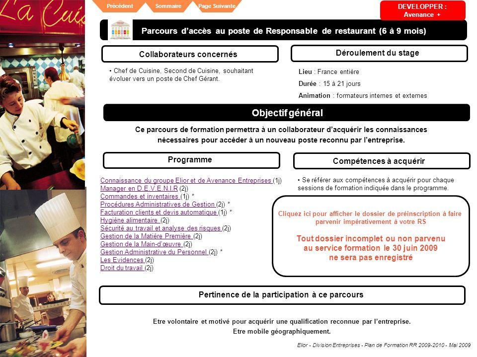 Parcours d'accès au poste de Responsable de restaurant (6 à 9 mois)
